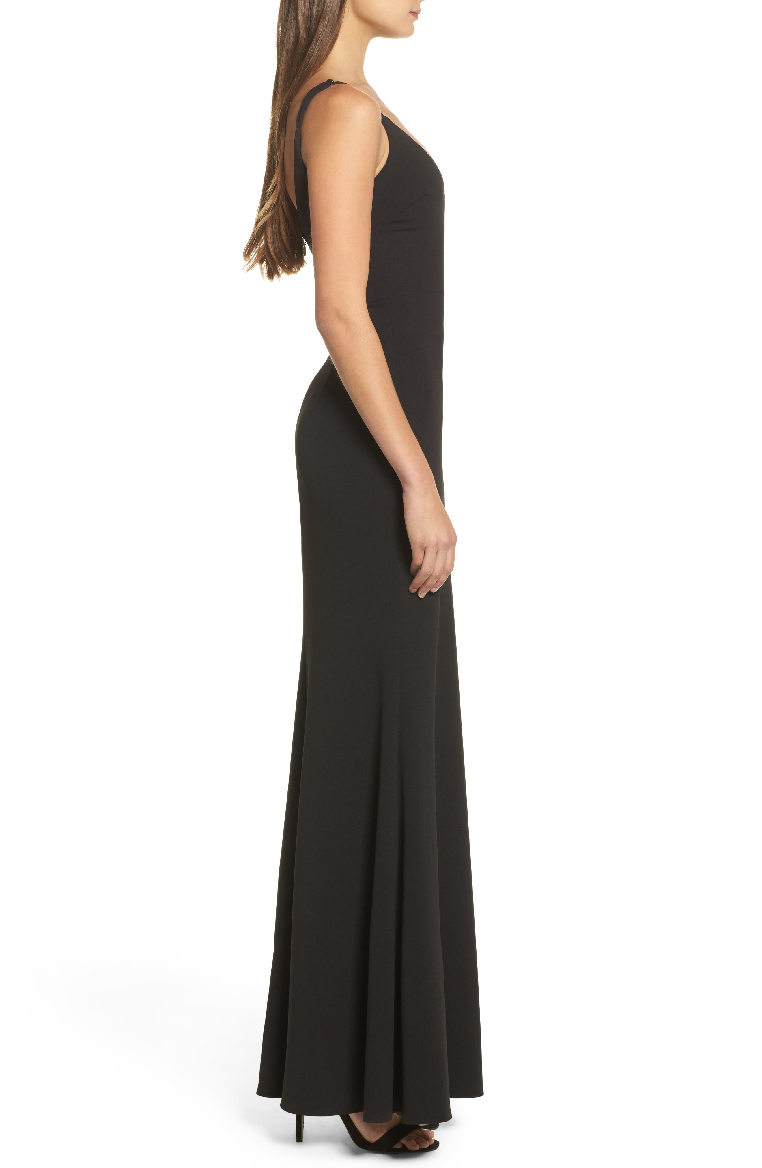 ,                             V-Neck Trumpet Gown,                             Alternate thumbnail 4, color,                             BLACK