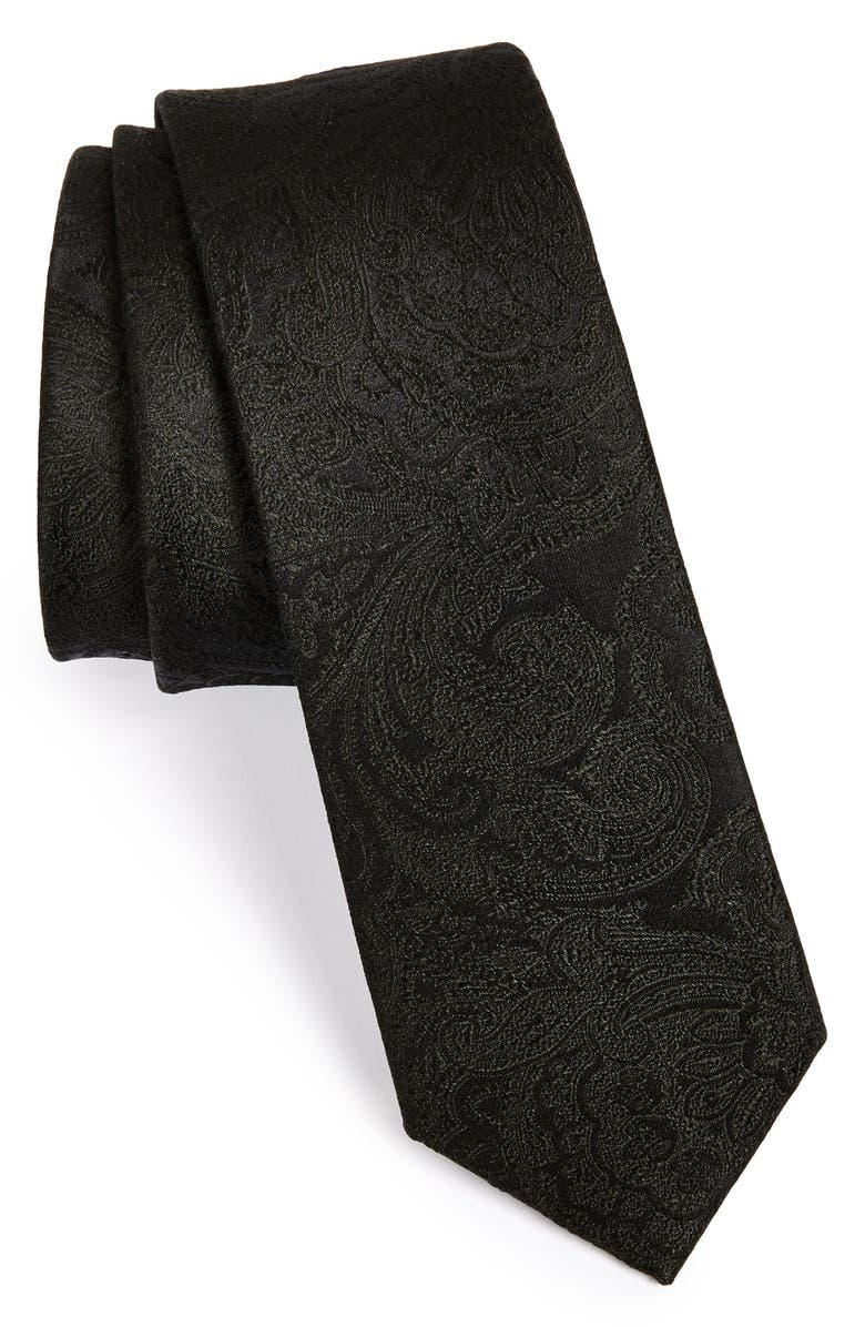 THE TIE BAR Silk Paisley Tie, Main, color, BLACK
