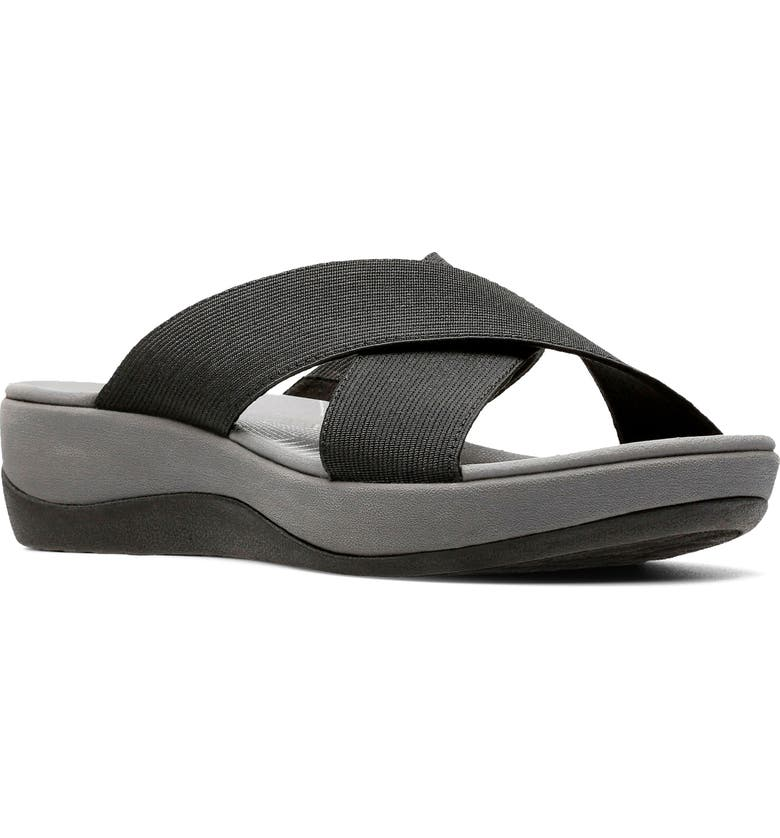 CLARKS<SUP>®</SUP> Arla Elin Slide Sandal, Main, color, BLACK SOLID TEXTILE