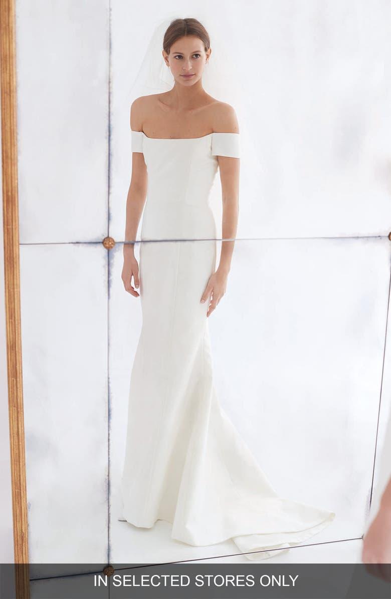 CAROLINA HERRERA Greta Off the Shoulder Trumpet Gown, Main, color, IVORY