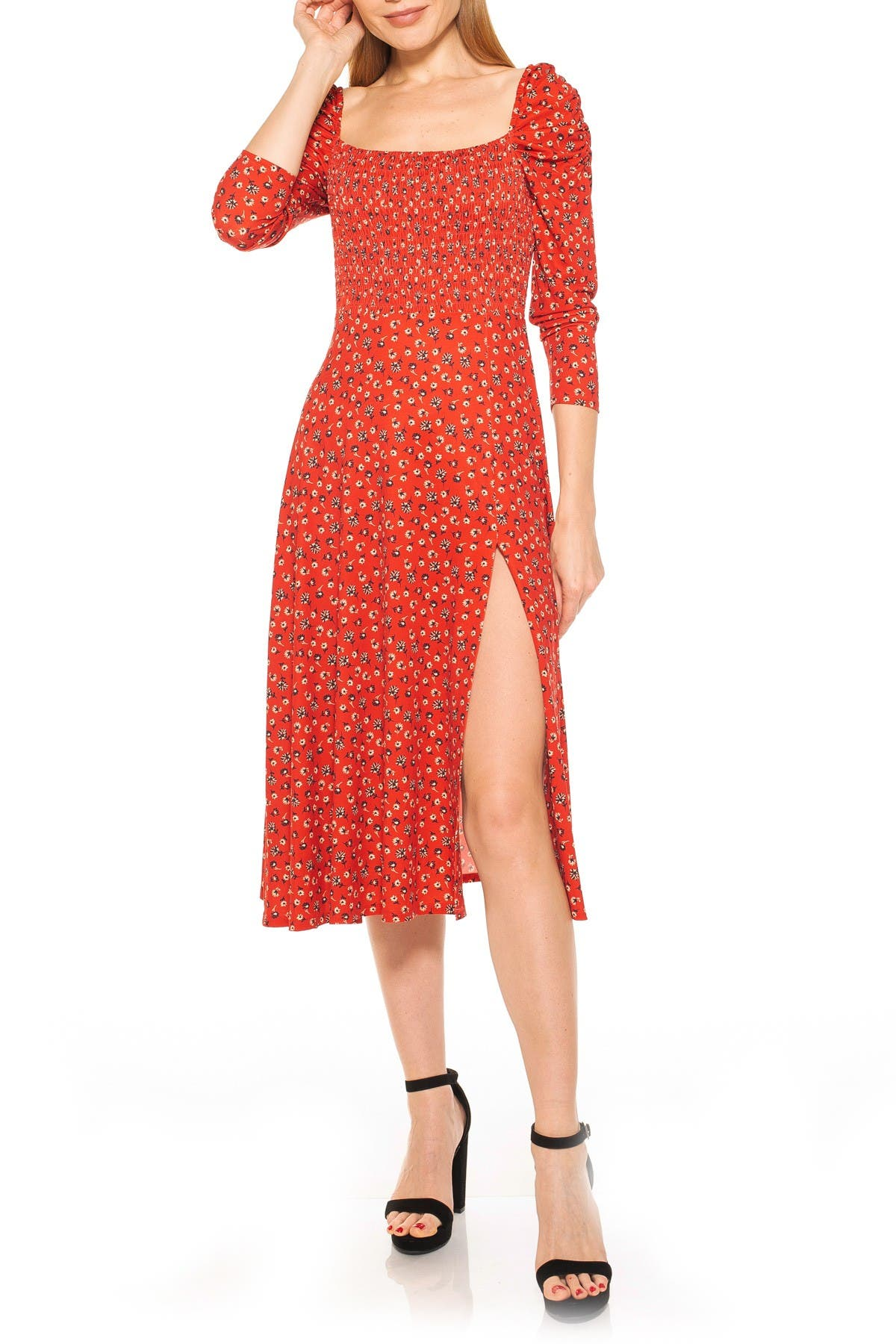 Image of Alexia Admor Smocked Fit Flare Puff Sleeve Dress