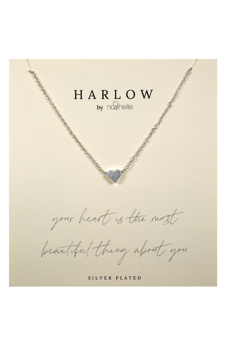 NASHELLE HARLOW by Nashelle Simple Heart Boxed Necklace, Main, color, SILVER