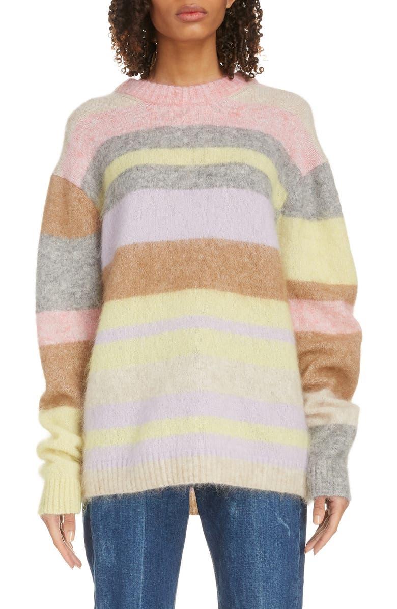 ACNE STUDIOS Kalbah Stripe Wool & Mohair Blend Sweater, Main, color, LILAC/ YELLOW MULTI