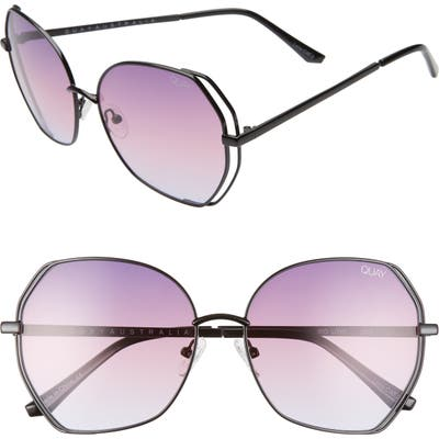 Quay Australia Big Love 5m Gradient Round Sunglasses - Black/ Purple Fade