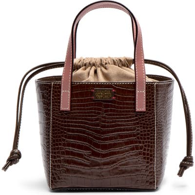 Frances Valentine Moxy Croc Embossed Leather Tote - Brown