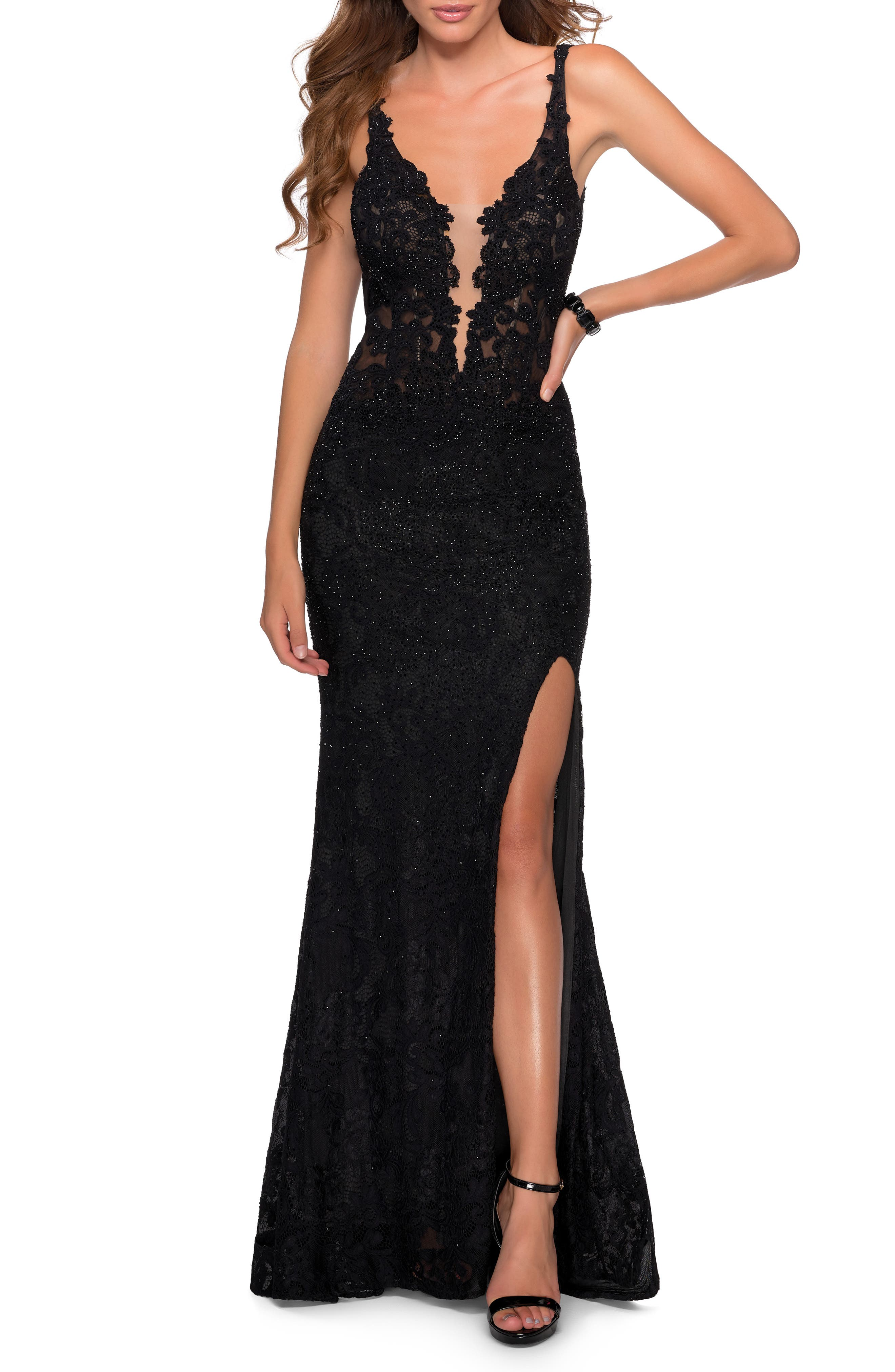 Steal the spotlight with sparkle and allure in this stunning lace gown featuring a plunging neckline, a leg-flaunting slit and spine-framing back cutouts. Style Name: La Femme Sparkle Lace Plunge Neck Gown. Style Number: 6170000. Available in stores.