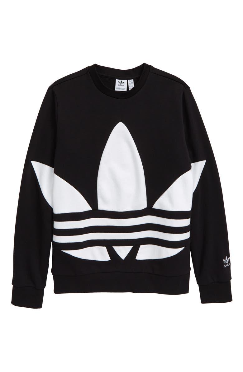 ADIDAS ORIGINALS Trefoil Crewneck Sweatshirt, Main, color, BLACK/ WHITE