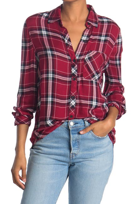 Image of BeachLunchLounge Charley Plaid Print Button Down Shirt