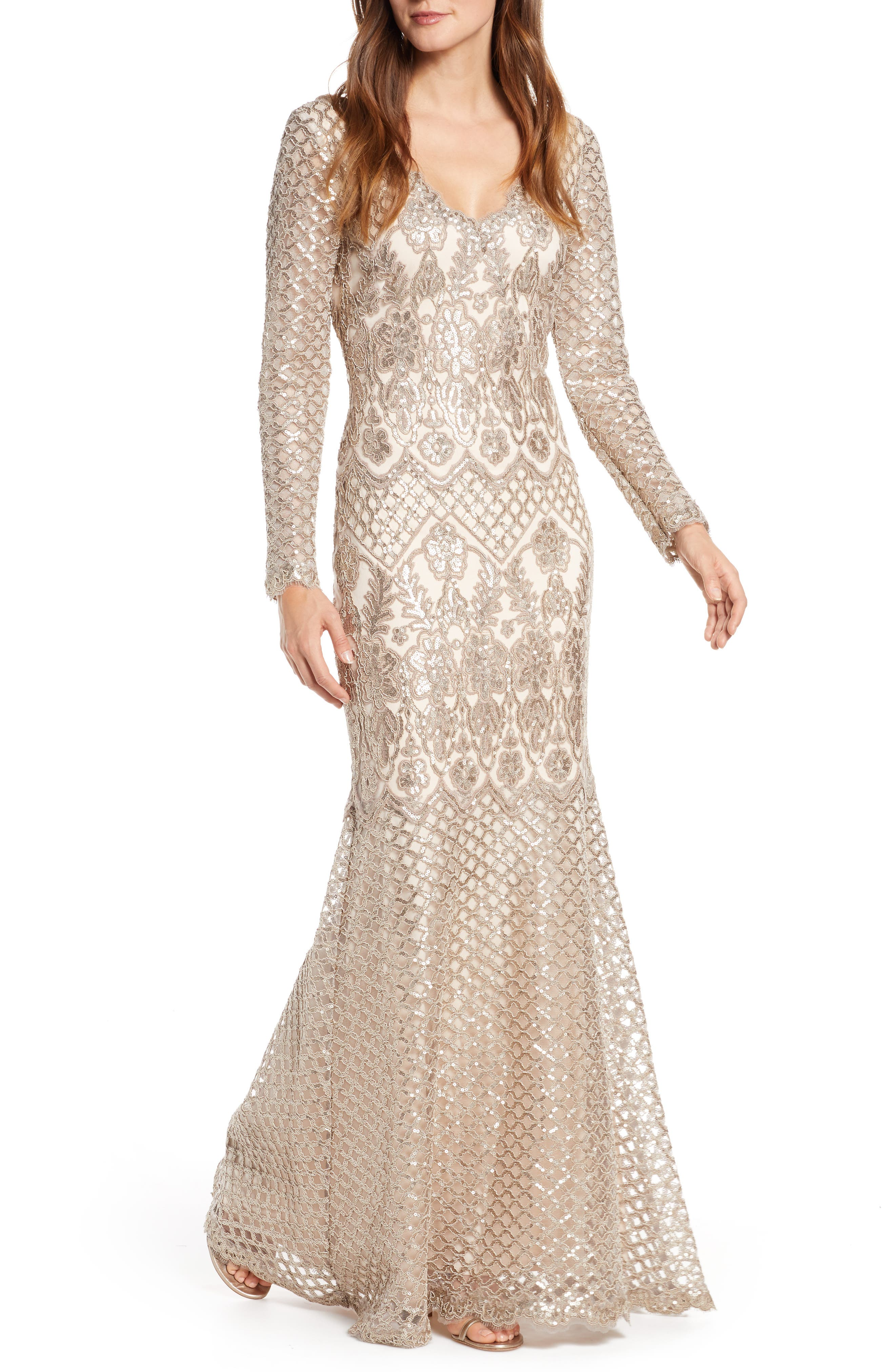 1920s Formal Dresses & Evening Gowns Guide Womens Tadashi Shoji Sequin Lace Long Sleeve Trumpet Gown $468.00 AT vintagedancer.com