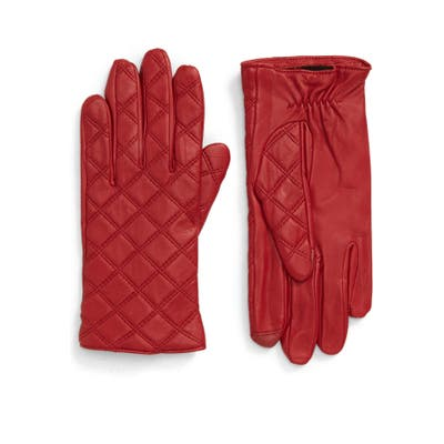Nordstrom Quilted Leather Tech Gloves, Red