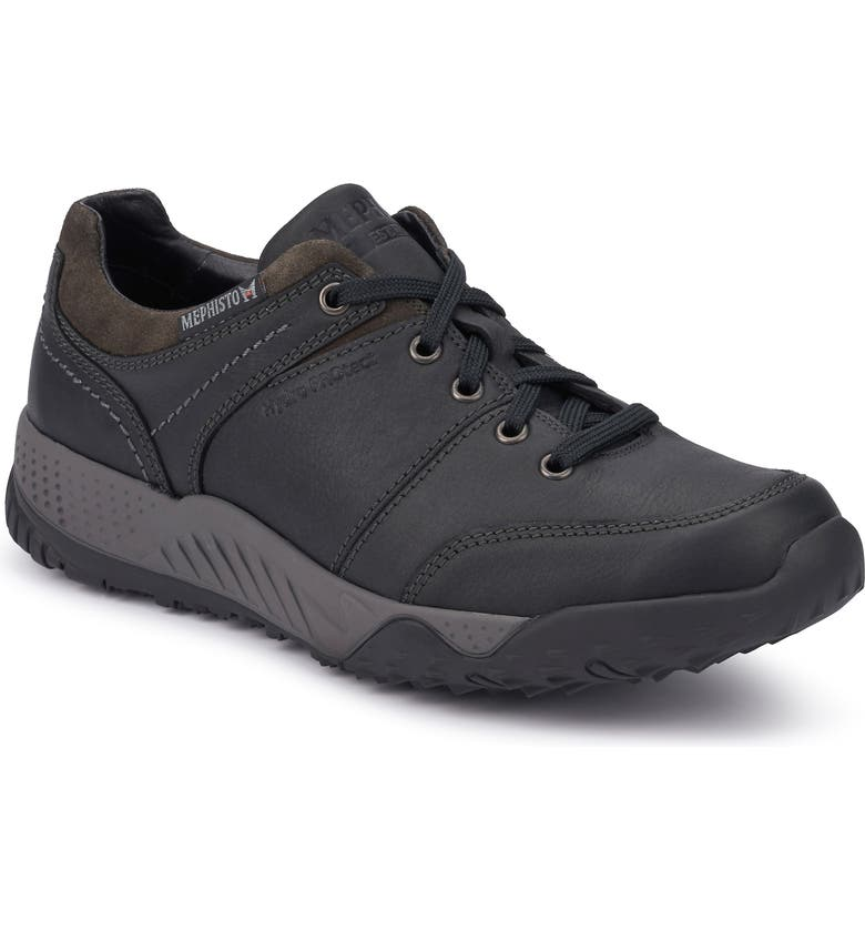MEPHISTO Fabiano Sneaker, Main, color, BLACK/ DARK GREY LEATHER