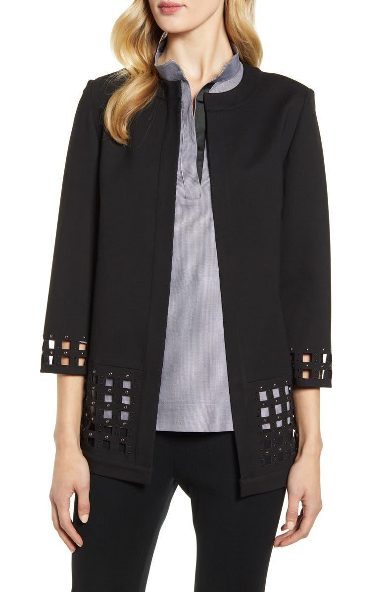 MING WANG Grid Cutout Jacket, Main, color, BLACK