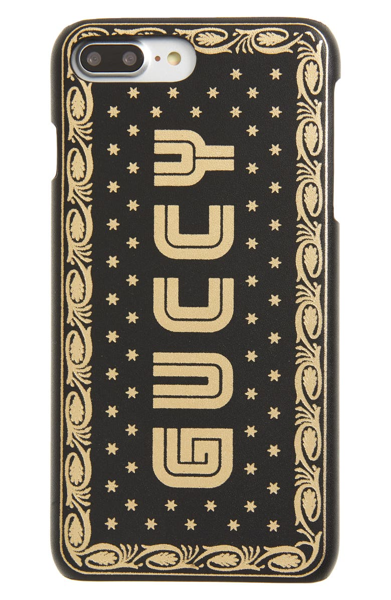 online store 1678e a850e Gucci Guccy Logo Moon & Stars Leather iPhone 7 Plus Case   Nordstrom