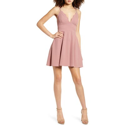 Speechless Scallop Neck Sleeveless Skater Dress, Pink