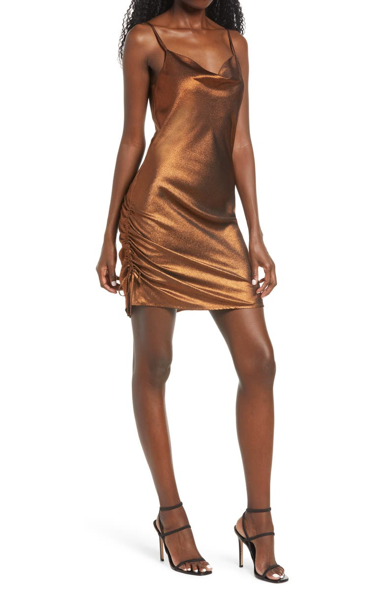 ROW A Ruched Body-Con Minidress, Main, color, BRONZE
