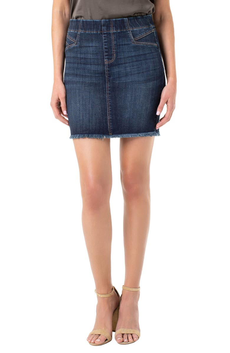 LIVERPOOL Cat Eye Denim Miniskirt, Main, color, LOWRY