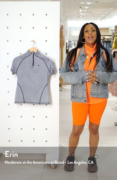 Textured Stripe Quarter Zip Golf Top, sales video thumbnail