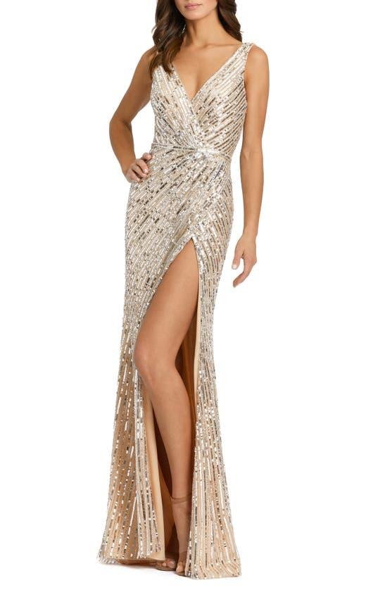 Mac Duggal Starburst Sequin Column Gown In Nude Silver