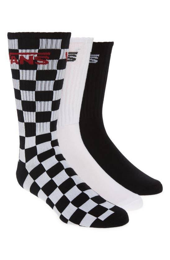 Vans Classic Crew 3-pack Sock In Black Checkerboard