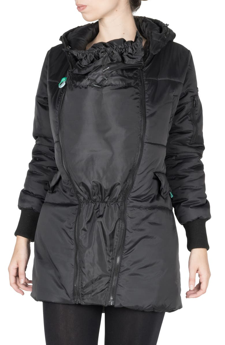 MODERN ETERNITY 3-in-1 Hooded Maternity Puffer Jacket, Main, color, BLACK