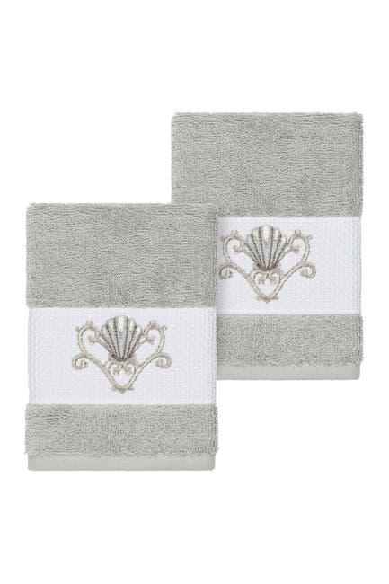 Image of LINUM HOME Bella Embellished Washcloth - Set of 2 - Light Grey