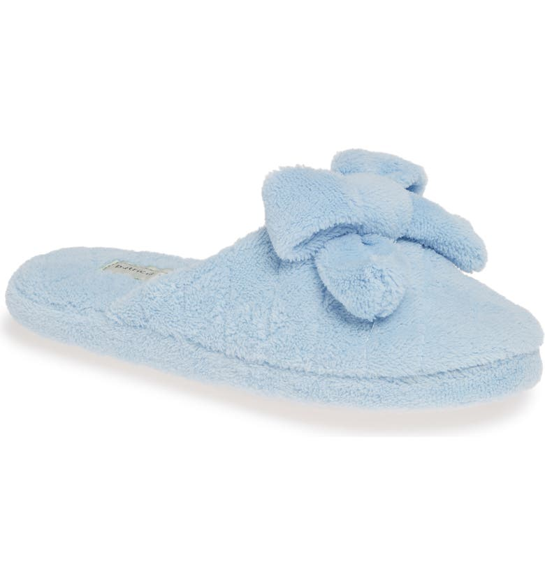 PATRICIA GREEN 'Bonnie' Bow Slipper, Main, color, LIGHT BLUE FABRIC
