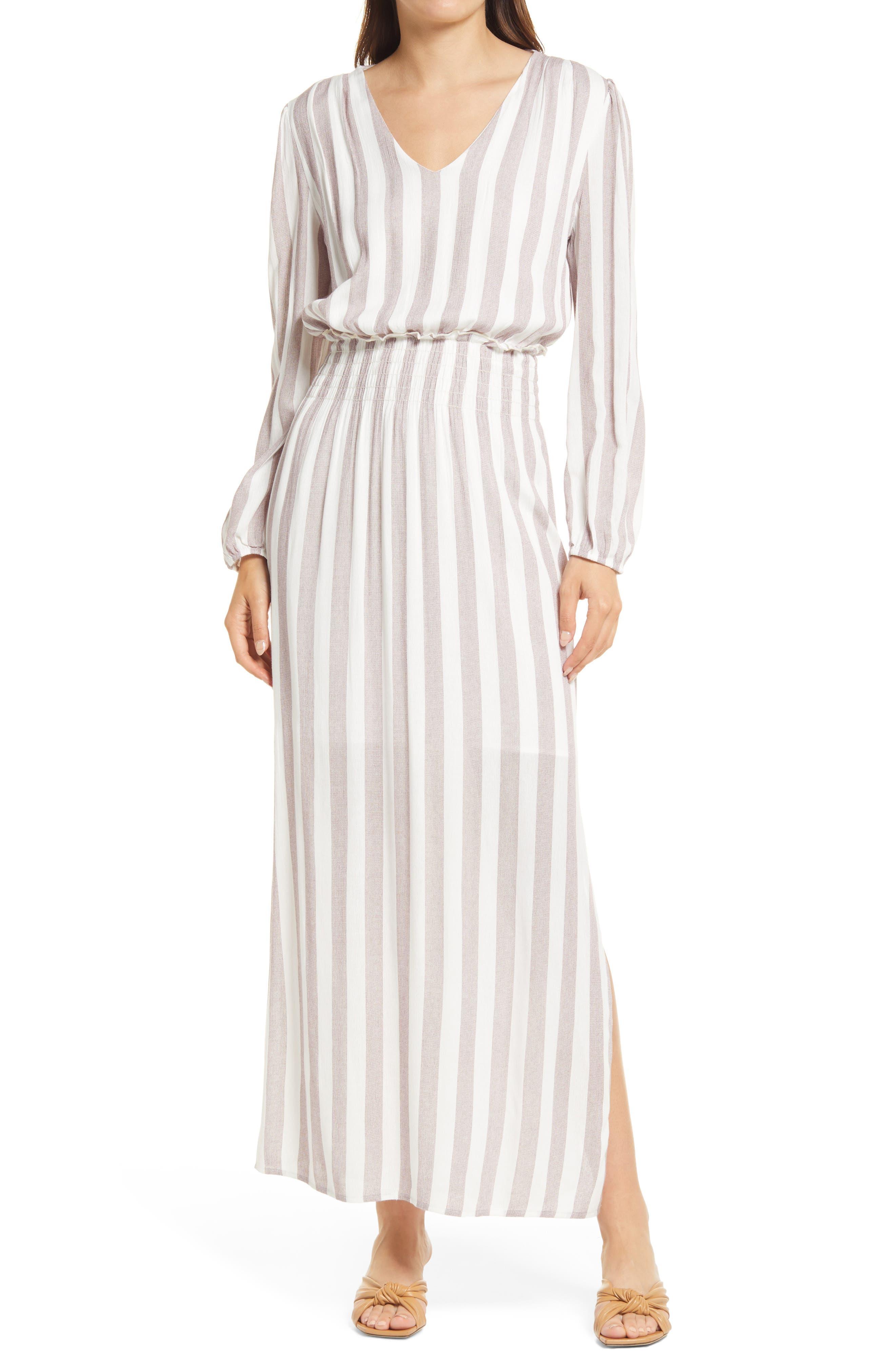 Smocked Waist Long Sleeve Maxi Dress