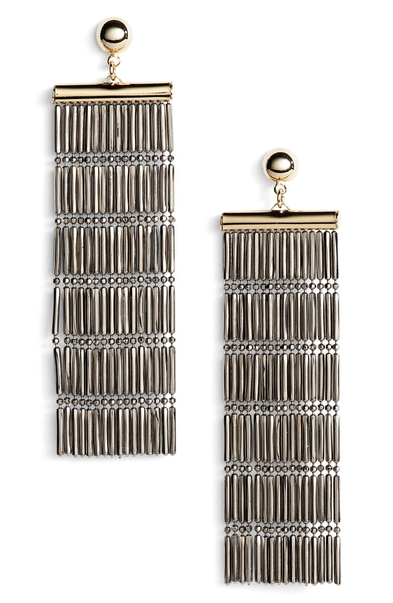 ARGENTO VIVO STERLING SILVER Argento Vivo Two-Tone Linear Fringe Earrings, Main, color, 041