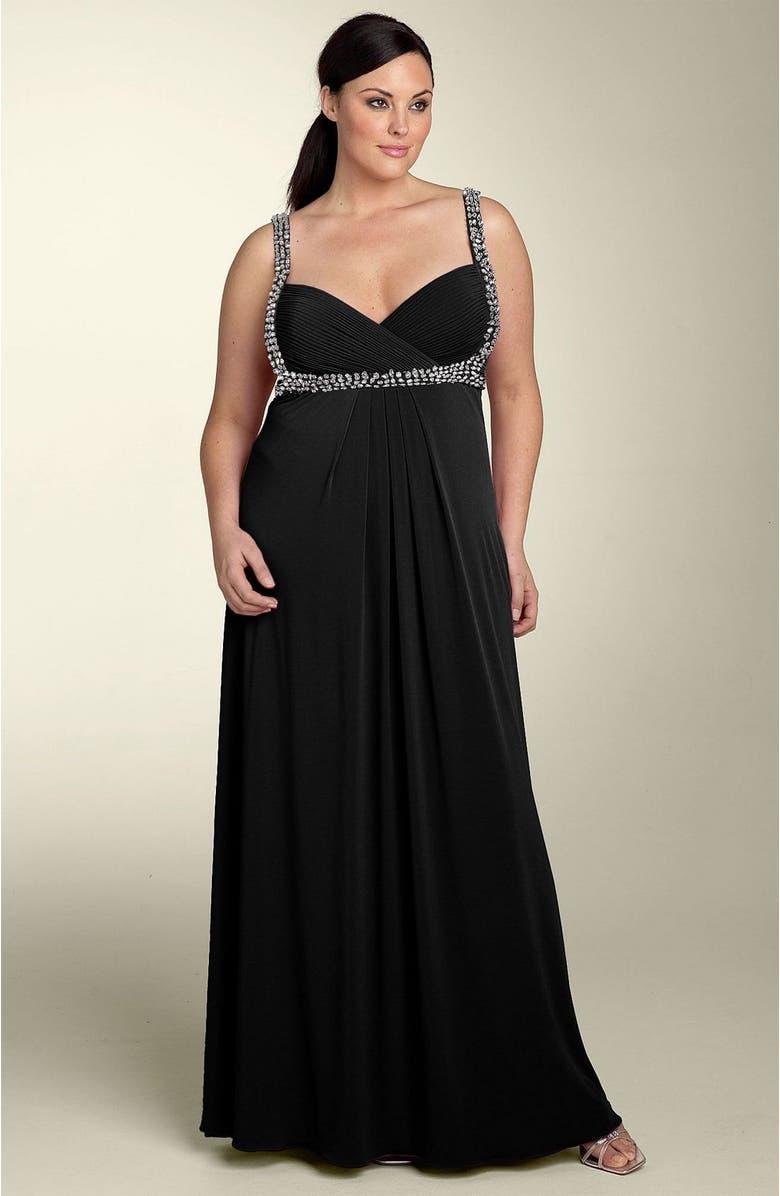 JS BOUTIQUE Beaded Gown, Main, color, 001