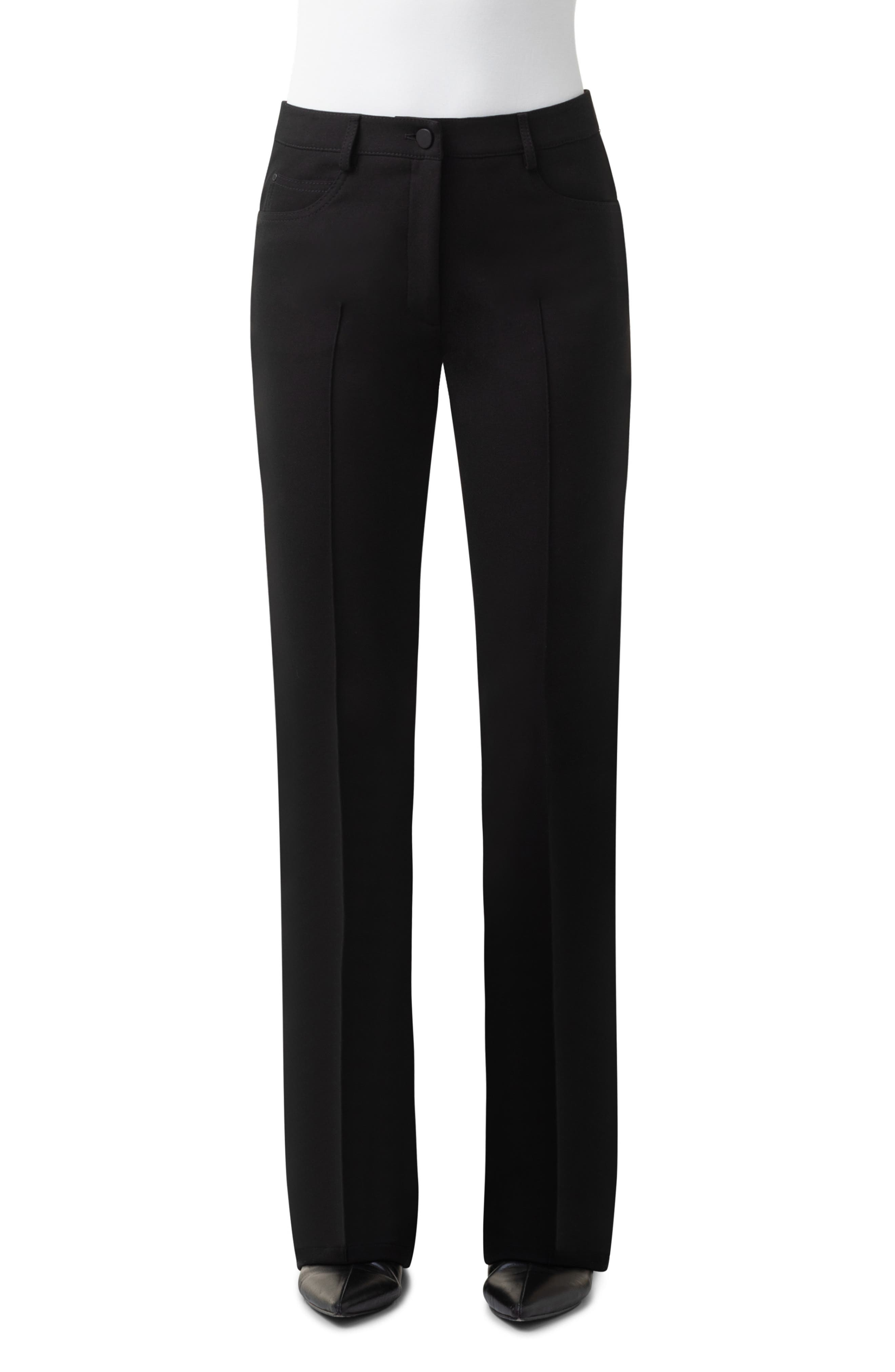 Center pintucks keep the look crisp on versatile crepe pants with a bootcut silhouette and an angled back yoke that provides shapely definition. Style Name: Akris Punto Faye Bootcut Crepe Pants. Style Number: 5999638. Available in stores.