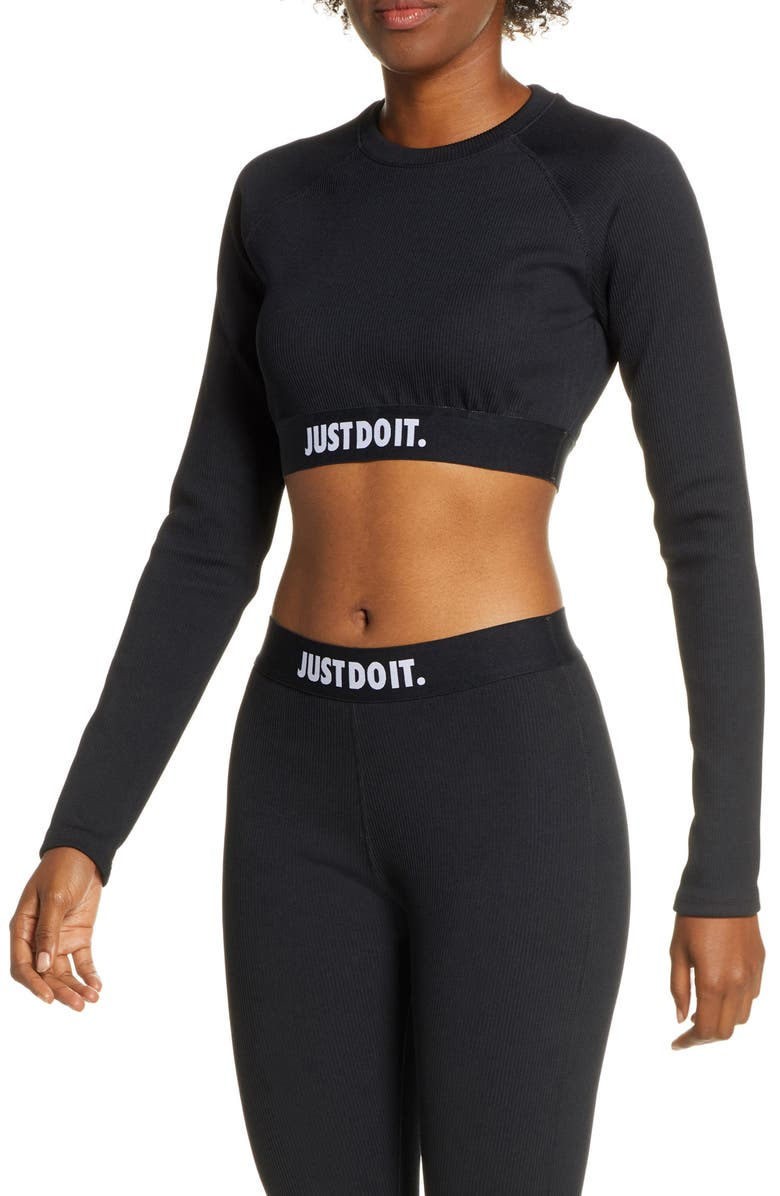 NIKE Sportswear JDI Rib Crop Top, Main, color, BLACK