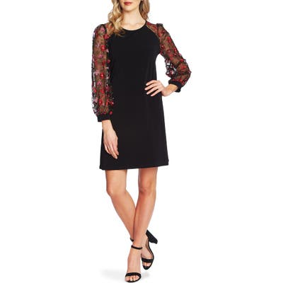 Cece Embroidered Long Sleeve Shift Dress, Black