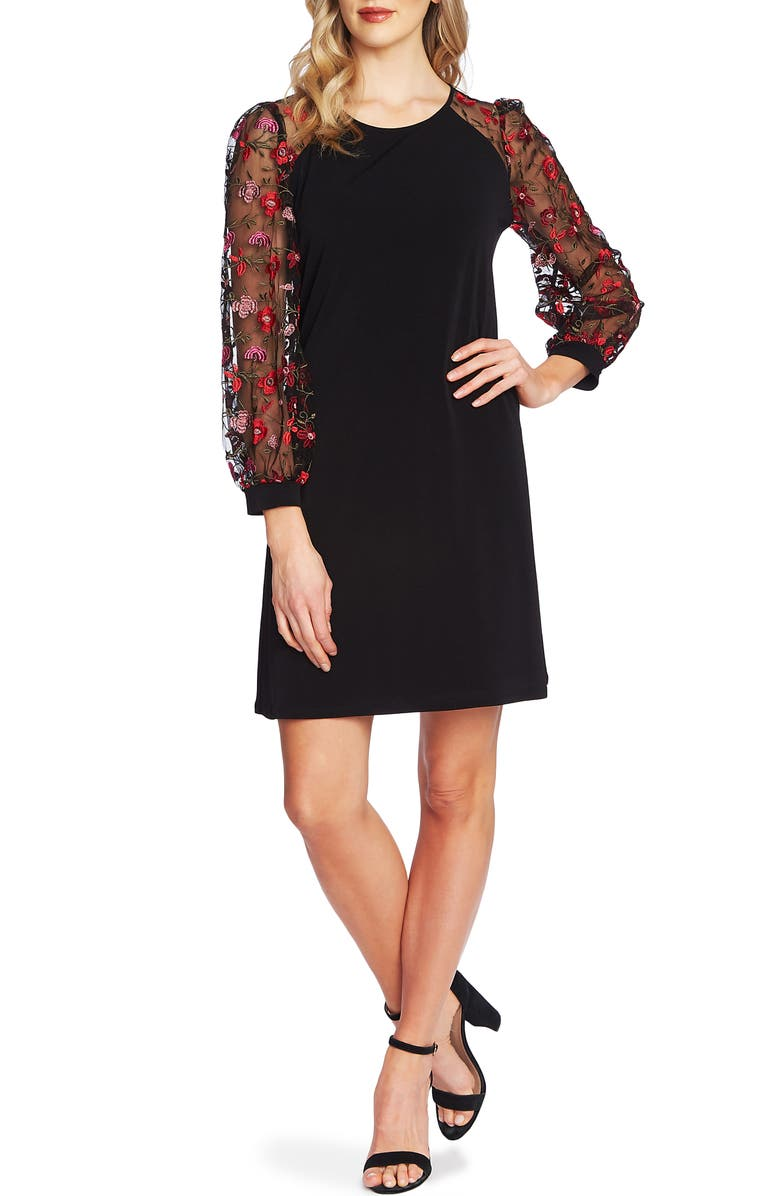 CECE Embroidered Long Sleeve Shift Dress, Main, color, RICH BLACK