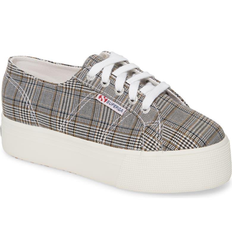 SUPERGA 2790 British Platform Sneaker, Main, color, BLACK PLAID