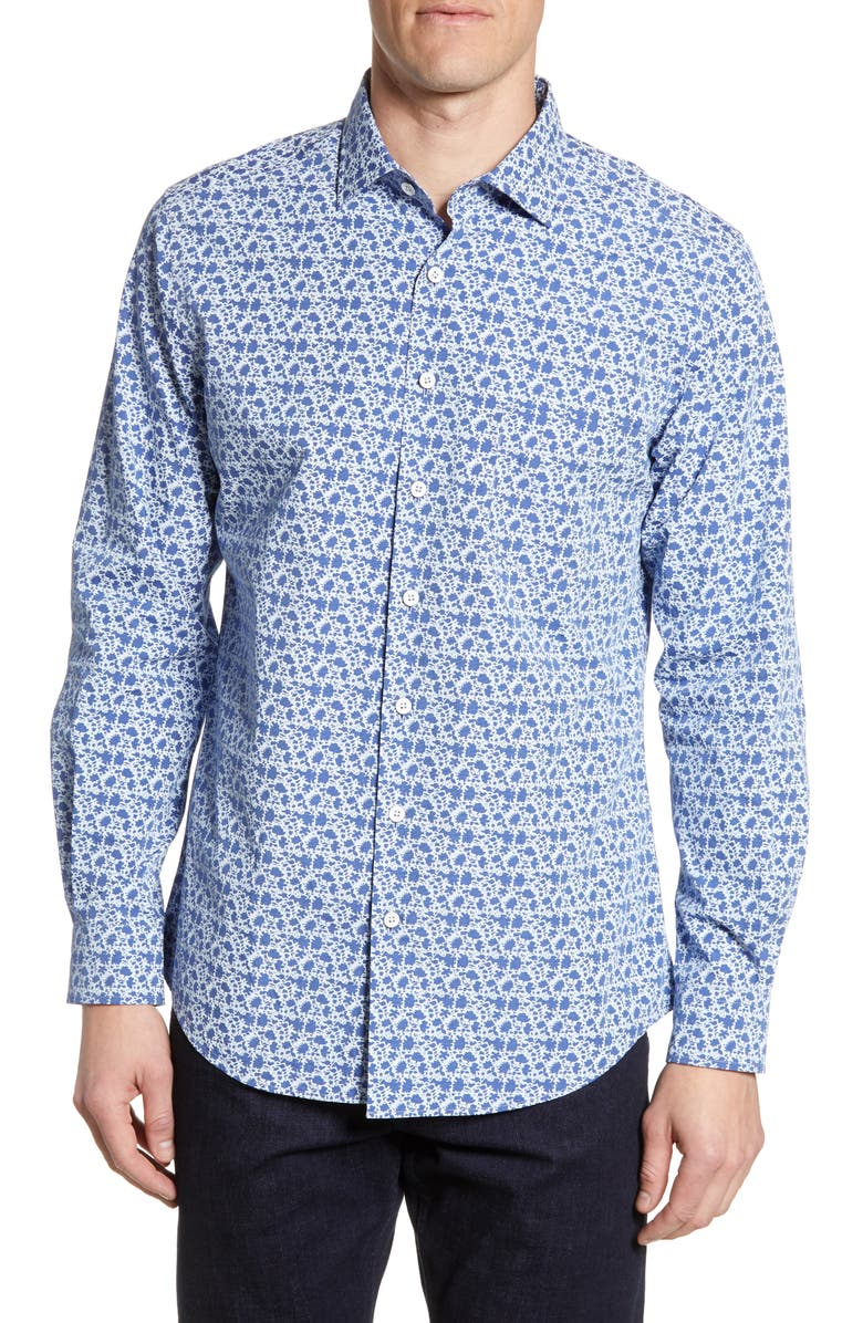 RODD & GUNN The Racecourse Regular Fit Floral Button-Up Shirt, Main, color, SEA