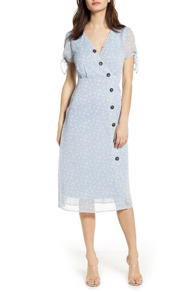 J.O.A. Button Front Crepe Midi Dress, Main, color, BLUE CELESTIAL