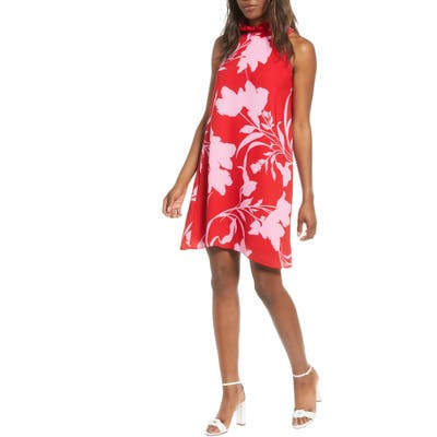 Petite Gibson X Hi Sugarplum! Cavallo Ruffle Neck Date Dress, Red