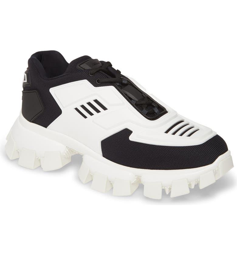 PRADA Cloudbust Thunder Platform Sneaker, Main, color, BLACK/ WHITE