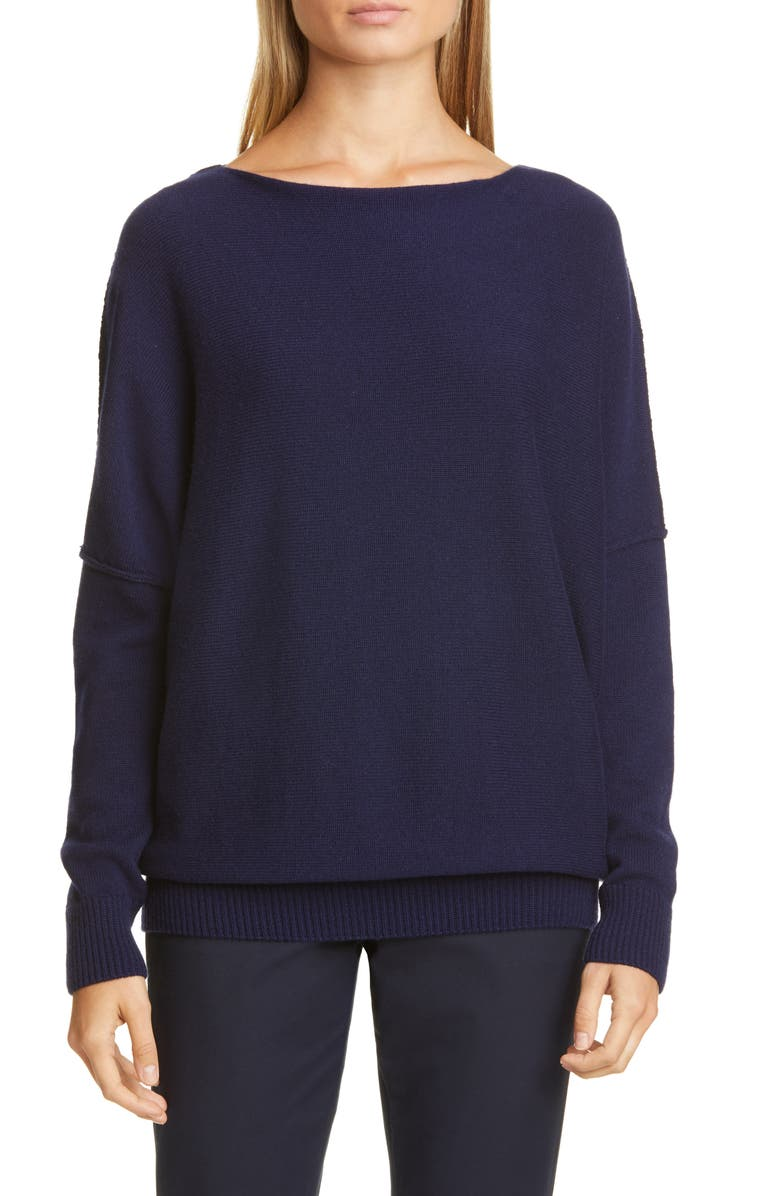 LAFAYETTE 148 NEW YORK Bateau Neck Cashmere Sweater, Main, color, ROYAL BLUE