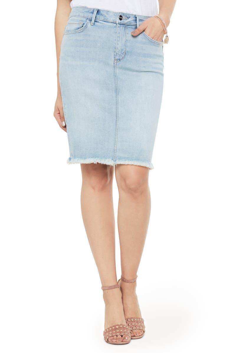 SAM EDELMAN Riley Frayed Denim Skirt, Main, color, 451