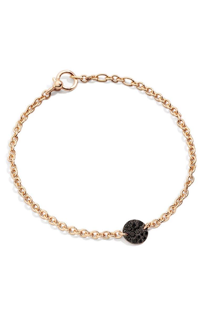 POMELLATO Sabbia Diamond Station Chain Bracelet, Main, color, ROSE GOLD/ BLACK DIAMOND