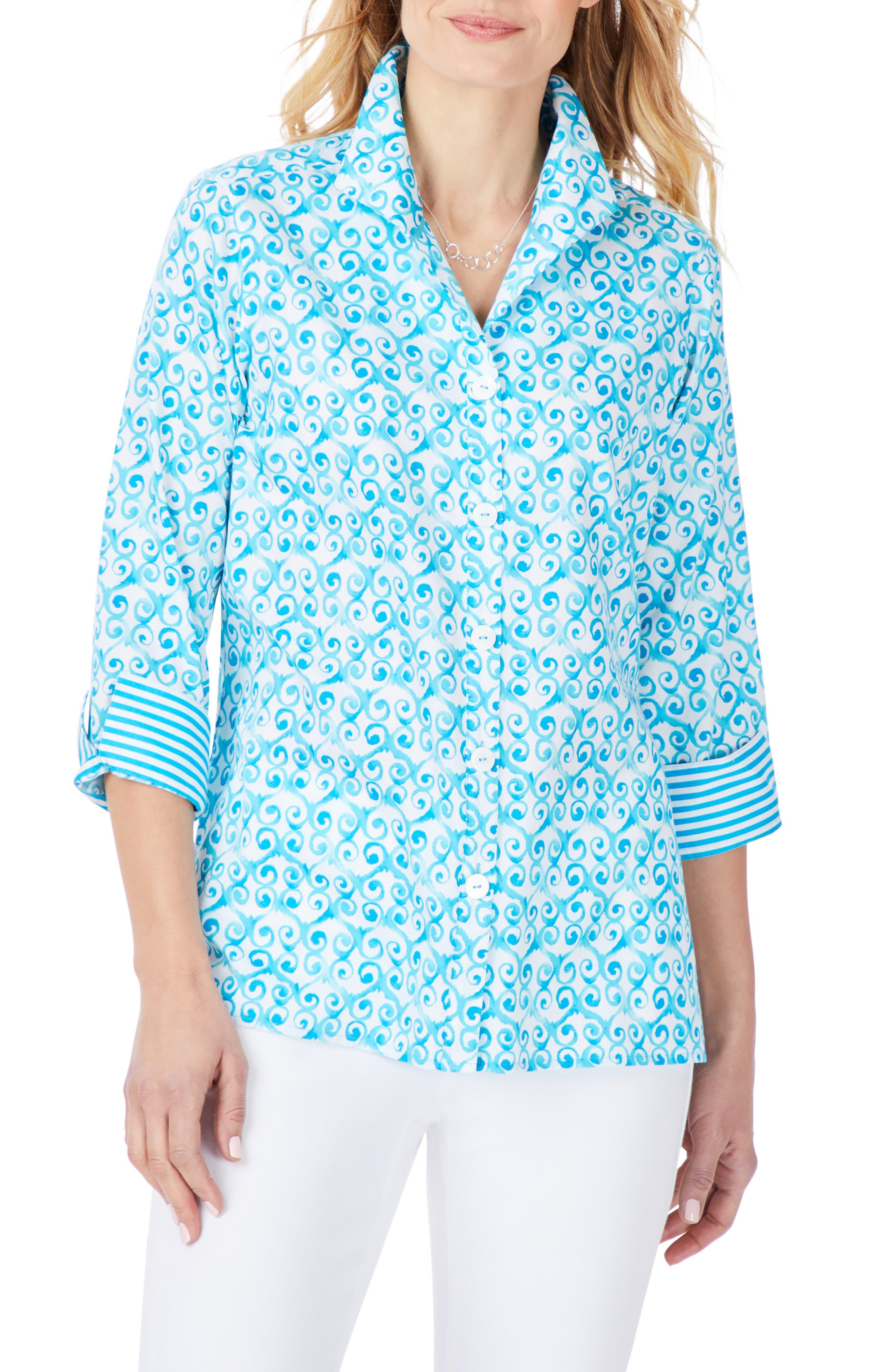 Watercolor Trellis Cotton Sateen Non-Iron Shirt