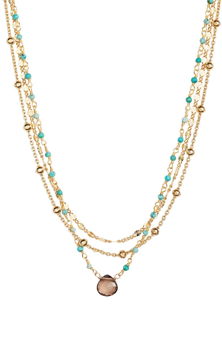ELA RAE Lina Semiprecious Stone Multistrand Necklace, Main, color, 440