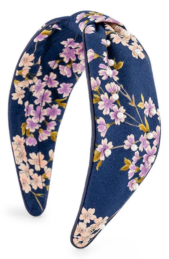 Alexandre De Paris Floral Embellished Knotted Headband In Navy Blue