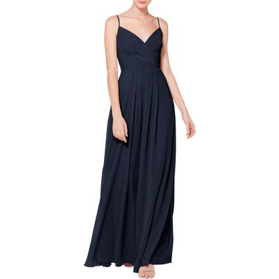 #levkoff Surplice Neck Chiffon Evening Dress