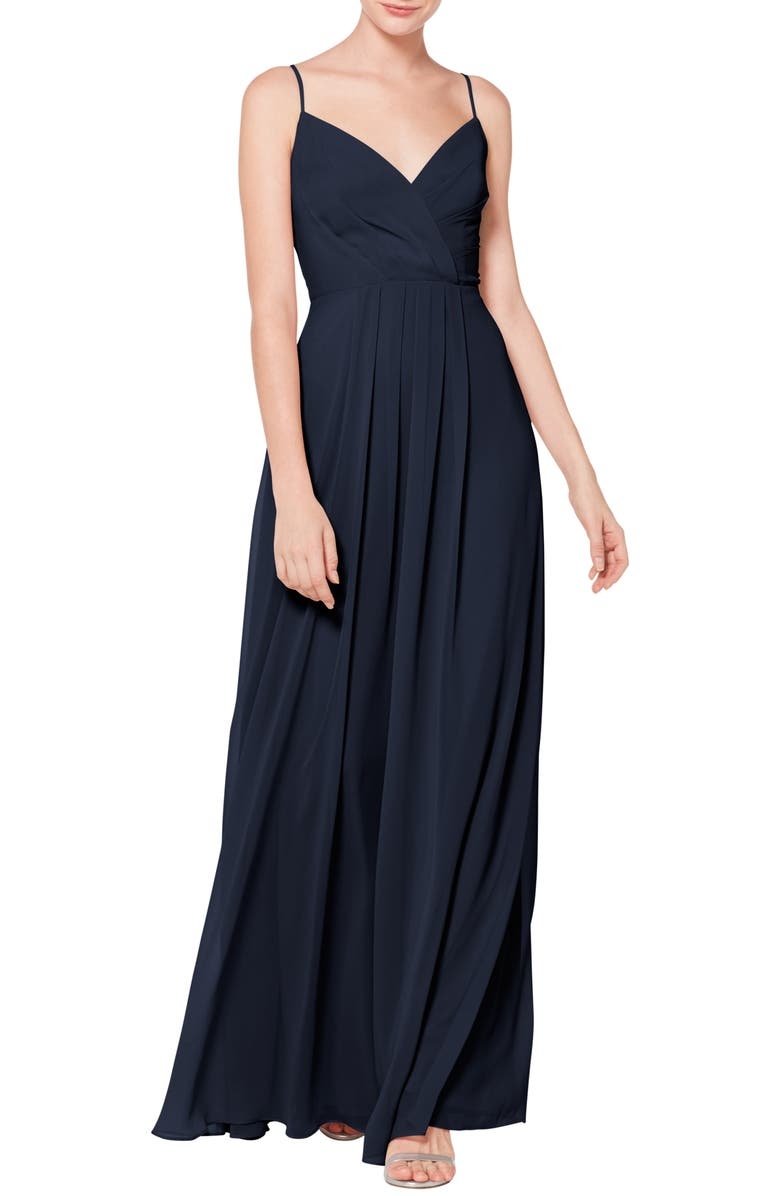 #LEVKOFF Surplice Neck Chiffon Evening Dress, Main, color, NAVY