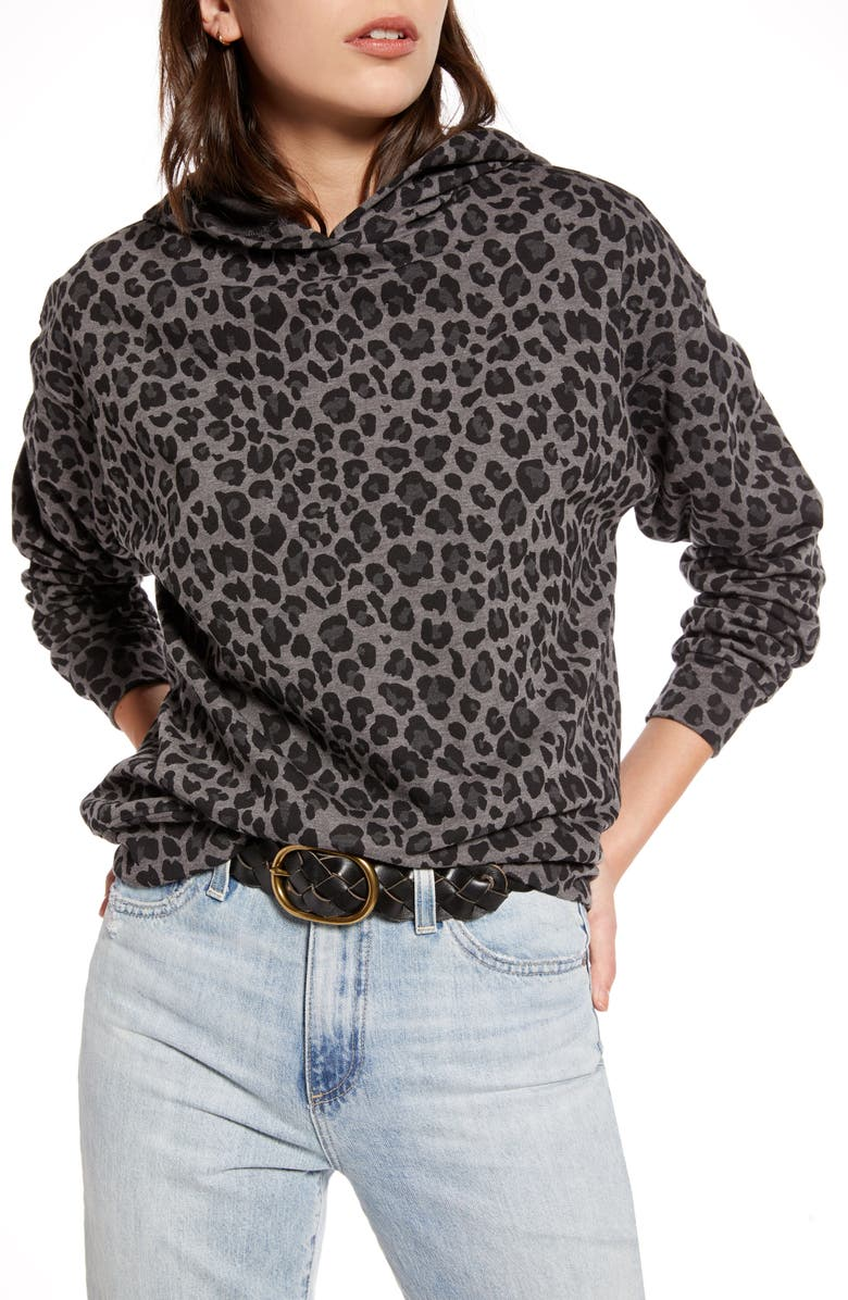 TREASURE & BOND Leopard Hoodie, Main, color, GREY- BLACK LEOPARD