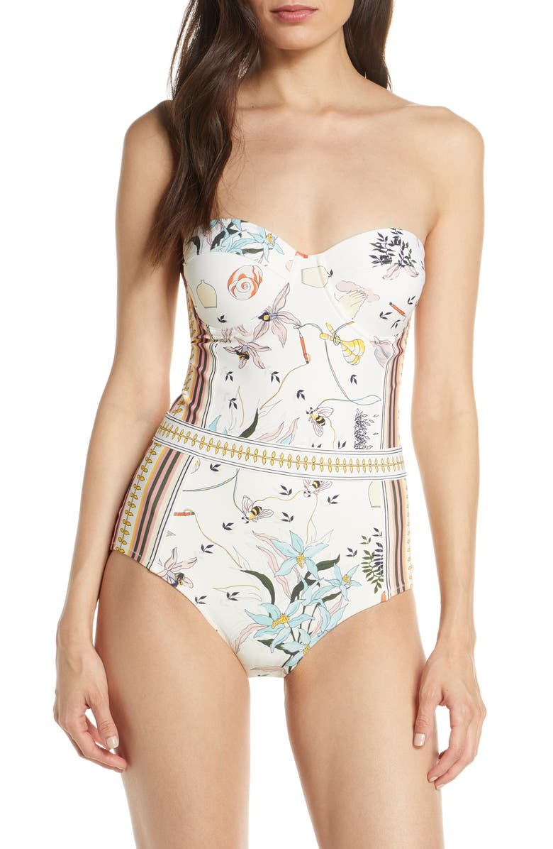 TORY BURCH Print Underwire One-Piece Swimsuit, Main, color, 909