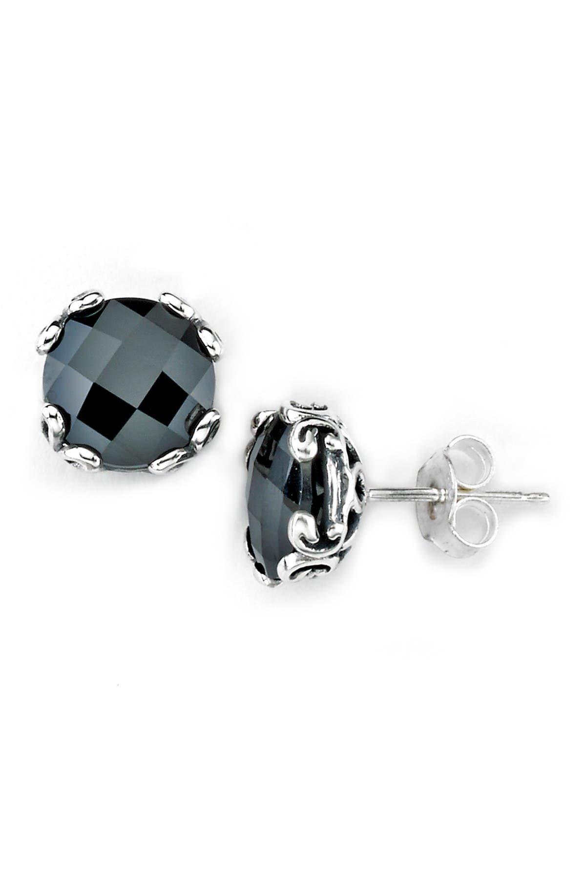 Image of Samuel B Jewelry Sterling Silver Round Black Spinel Stud Earrings