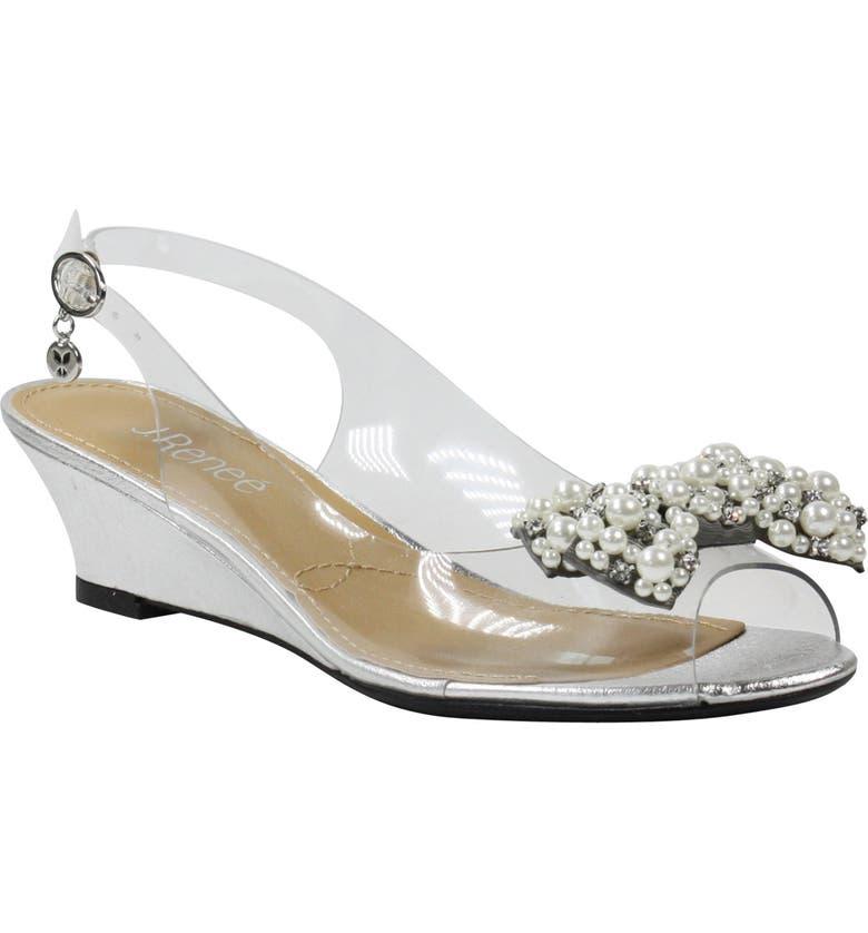 J. RENEÉ Charmese Embellished Slingback Sandal, Main, color, SILVER/ CLEAR